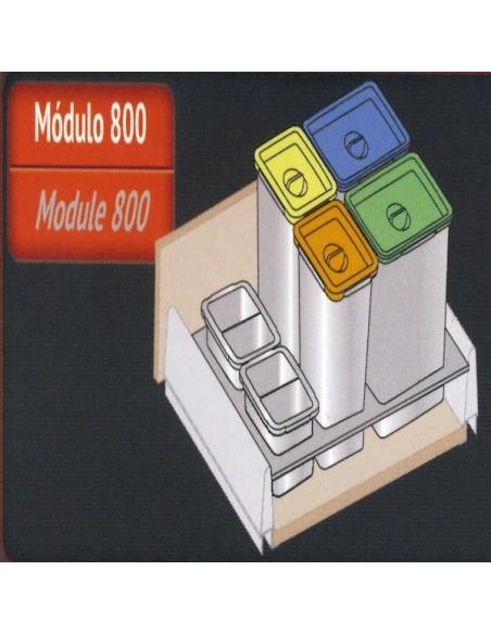 Kit de cubos de reciclaje 5+1 para cajón de 80 de BLUM