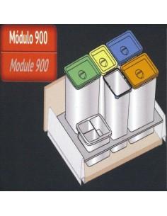 Kit de cubos de reciclaje 5+1 para cajón de 90 de BLUM