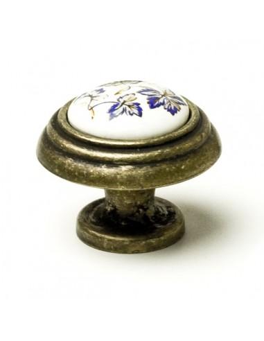 Pomo Porcelana 34 mm. Flor Azul