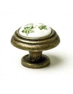 Pomo Porcelana 34 mm. Flor Verde