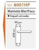 Juego Manivela Mar Con Placa Níquel Satinado