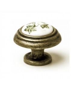 Pomo Porcelana 34 mm. Flor Marrón