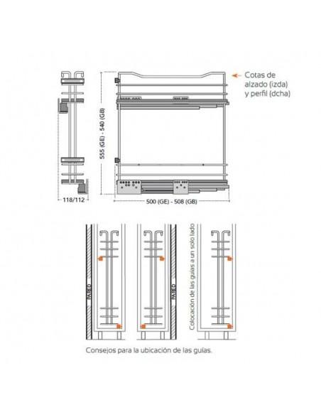 Botellero de 2 pisos para mueble de 15 cms ancho con guía Blum