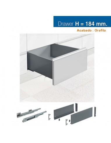 CAJON STYLE BOX 184x450mm GRAFITO